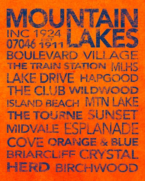 Mountain Lakes Blue On Orange Art | capeanngiclee