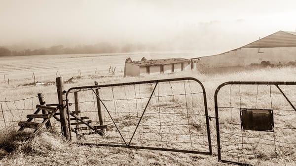 Double gate at farm scene