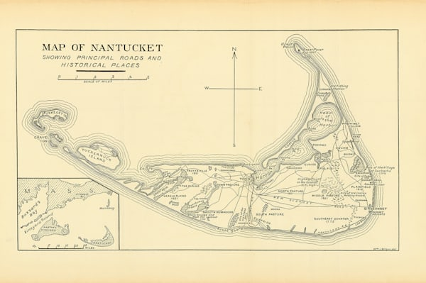 Nantucket Map Of Roads + Historic Places Art | Frame Center
