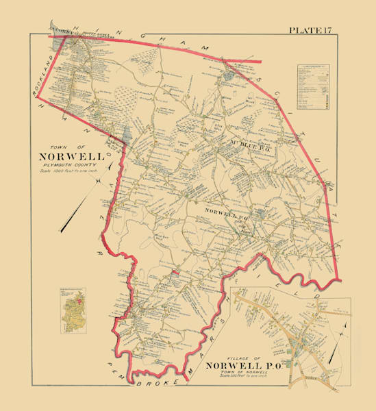 Norwell Town + Village 1903 Art by Frame Center
