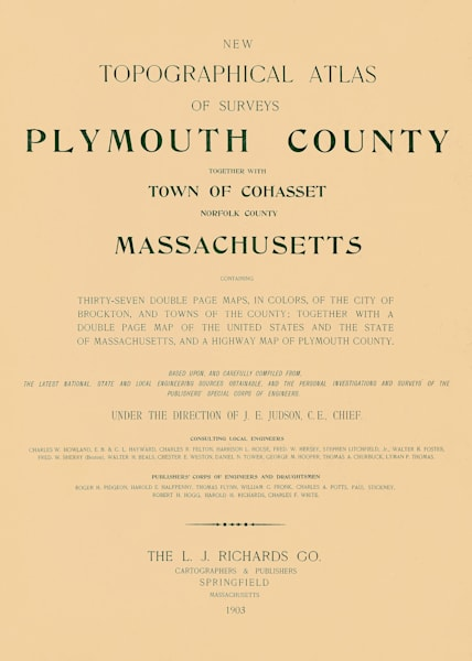 Plymouth County Title Page 1903 Art | Frame Center
