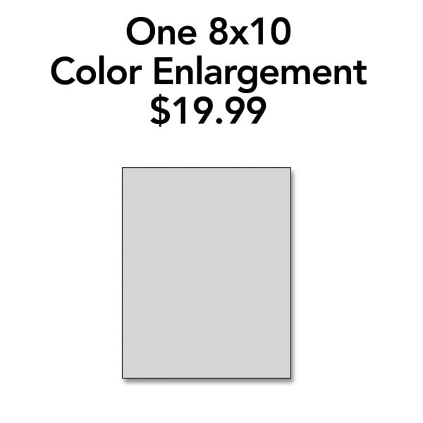 One 8x10 Color Enlargement