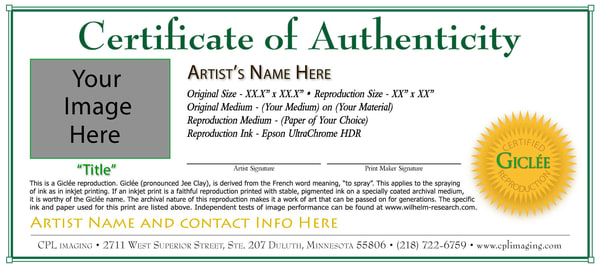 Giclée Certificates of Authenticity