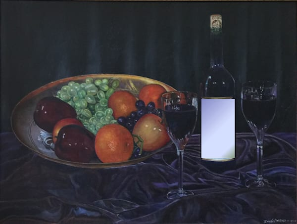 Wine bottle and fruit zxrjde