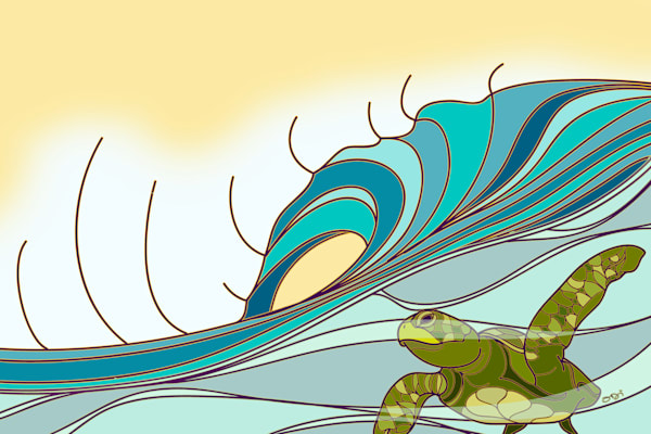 Surf Art | Surfing Honu by Odi