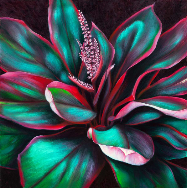 Hawaii Fine Art | Red-Green Ti Leaves by Philip Sabado