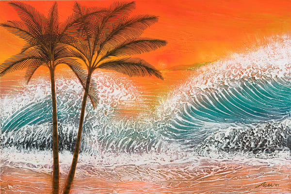 Fine Art Painting | Palms & Waves by Alan Aoki