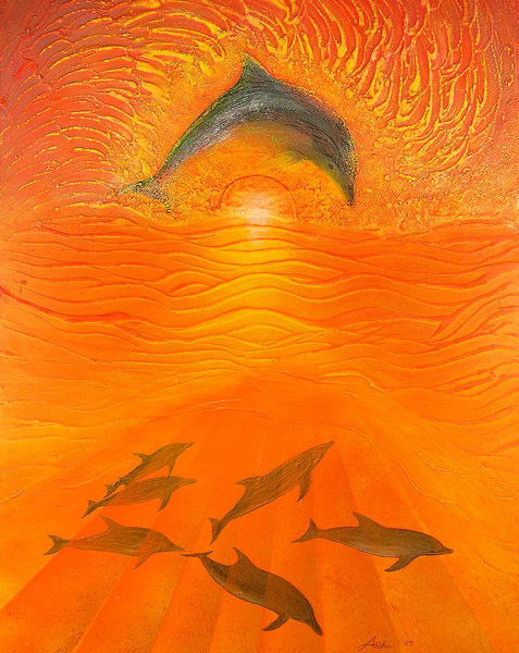 Fine Art Painting | Dolphins II by Alan Aoki
