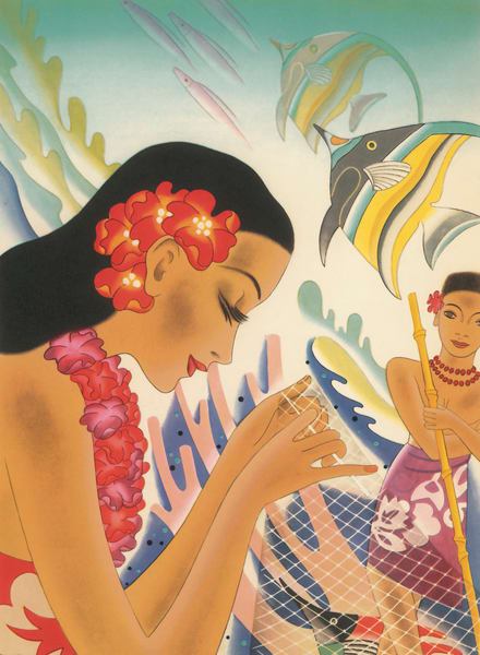 Retro Hawaiian Art | Fishing Net by Frank MacIntosh