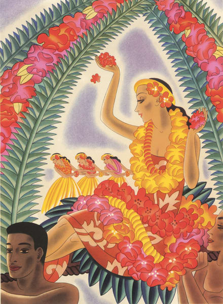 Retro Hawaiian Art | Hula and Lei by Frank MacIntosh