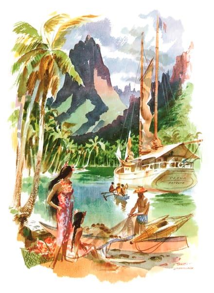 Polynesian art | Tahiti Boat by Macouillard