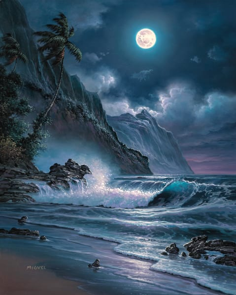 Seascape Painting | Moonlight Overture by Migvel
