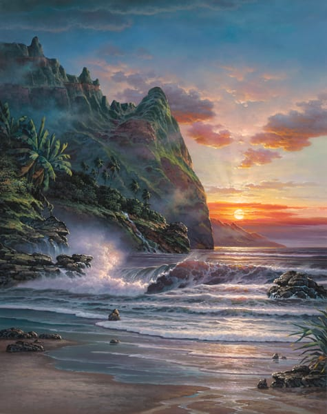 Seascape Painting | Paradise Sunset by Migvel