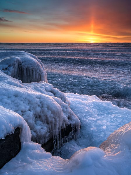Winter sunrise along Lake Superior