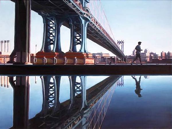 Jogger and Manhattan Bridge