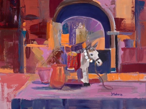 Burro at the Fountain | Southwest Art Gallery Tucson