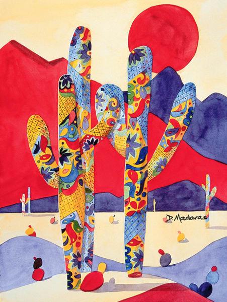Talavera Saguaros | Southwest Art Gallery Tucson
