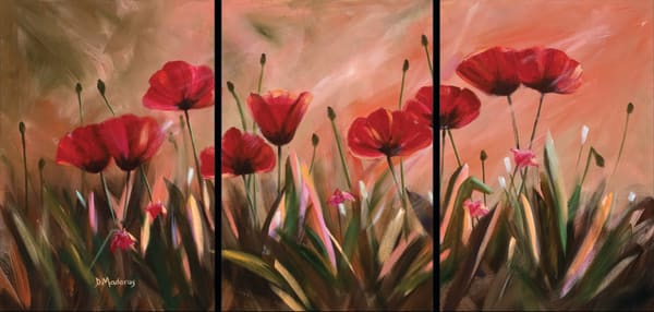 Jim's Poppies Triptych | Southwest Art Gallery Tucson