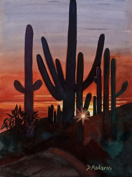 Sunset at Dove Mt. Holiday Card | Tucson Art Gallery