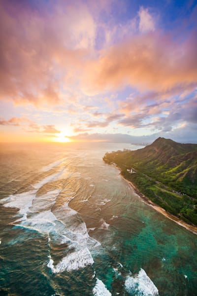 Aerial Photography |  Diamond Head Cloudburst by Cameron Brooks