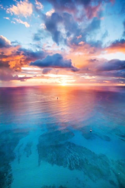 aerial of an epic sunset in front of Waikiki on Oahu, Hi.