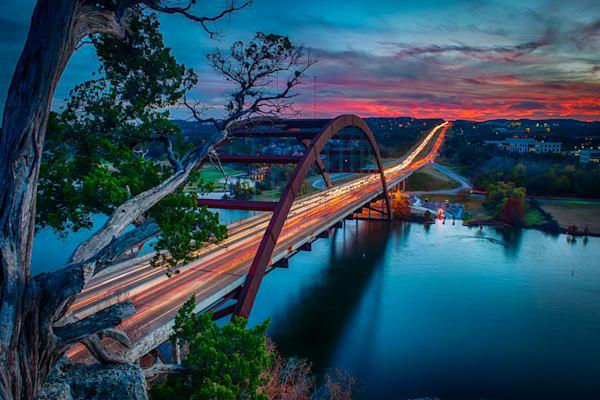 Sunset from Pennybacker Bridge Fine Art Photograph   JustBob Images