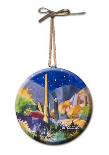 Boulders Holiday Glass Round Ornament