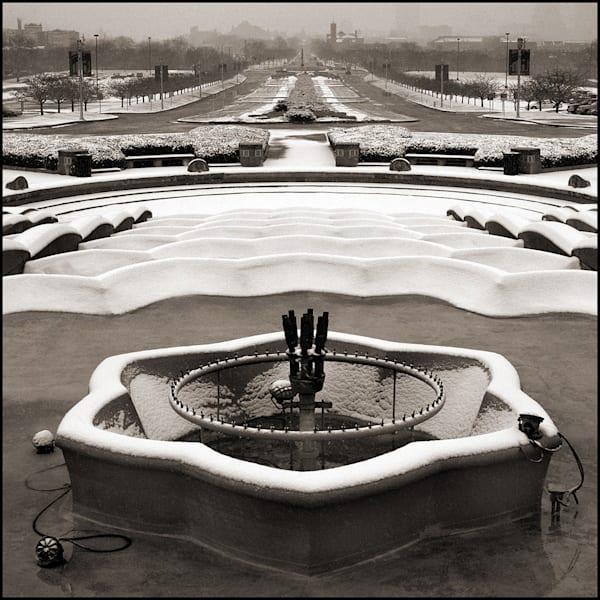 Union Terminal Fountain Snow Photography Art by Tom McFarlane Photography
