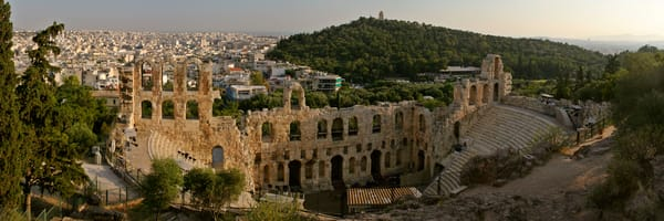 Acropolis Odeon of Herodes Atticus and Monument of Filopappos - Athens - Greece