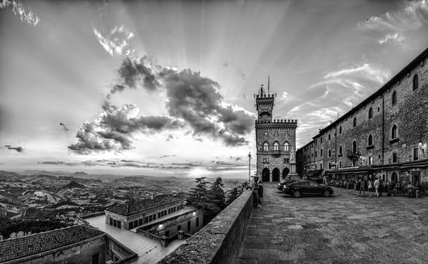 Church and Sunset - San Marino - Italy B&W