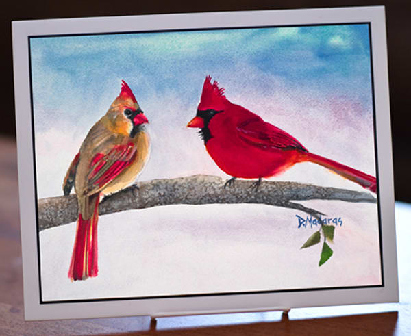 "Mr. and Mrs. Cardinal 8"" x 10"" Ceramic Tile"