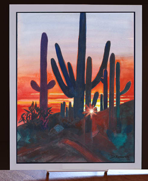 Sunset Decorative Tile Saguaro