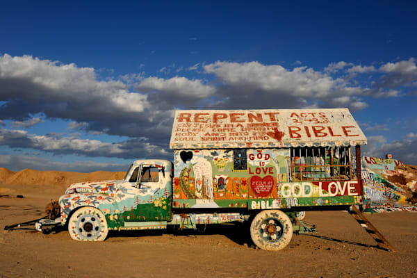 One of Leonard Knight`s artistic pieces of work at salvation mountain
