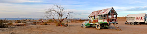 a panorama photo from salvation mountain in california