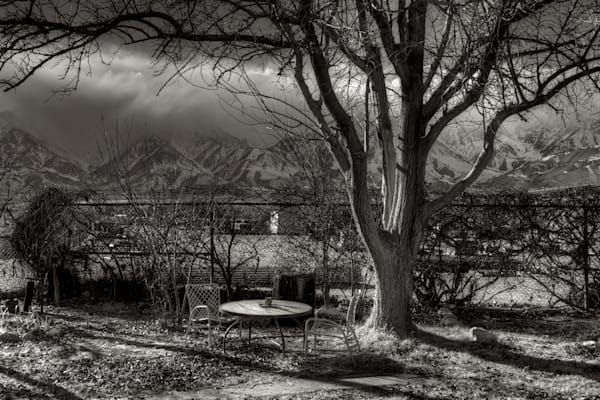 photo of storm in the sierra nevada mountains from a back yard in independence, ca