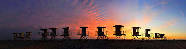 Lifeguard stands at sunset in bolsa chica area,  huntington beach