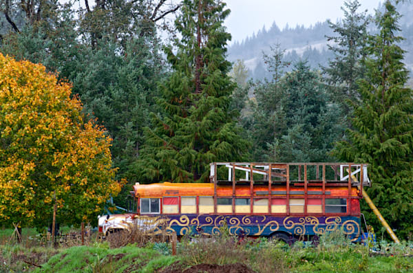 Colorful Hippie Bus in Beautiful Oregon, Prints