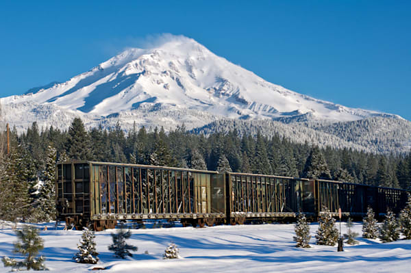 Awesome Snow Covered Mount Shasta Scene with Railcar