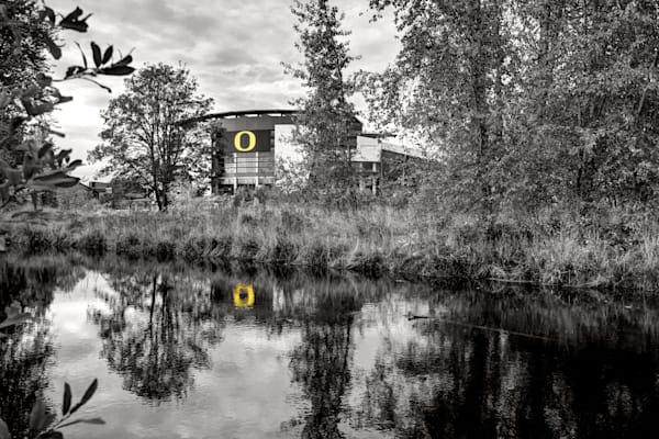 Autzen Stadium in Black and White.