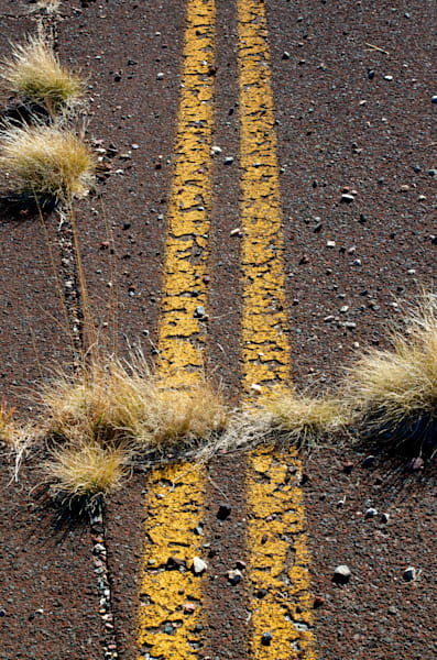 old route 66 in arizona with weeds growing throug the surface