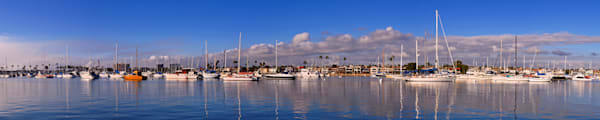 panorama of boats in newport bay