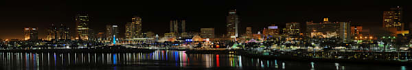 long beach skyline panorama at night