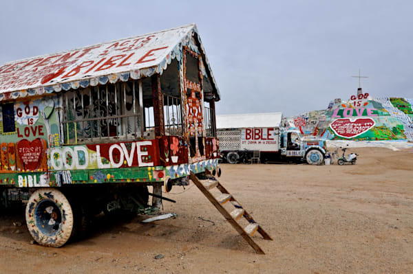 Awesome Prints of Salvation Mountain with Nostalgic Old Trucks