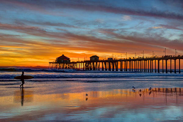 HB Pier Sunset and Surfer