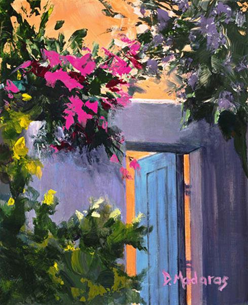 Bougainvillea by the Blue Door | Southwest Art Gallery Tucson