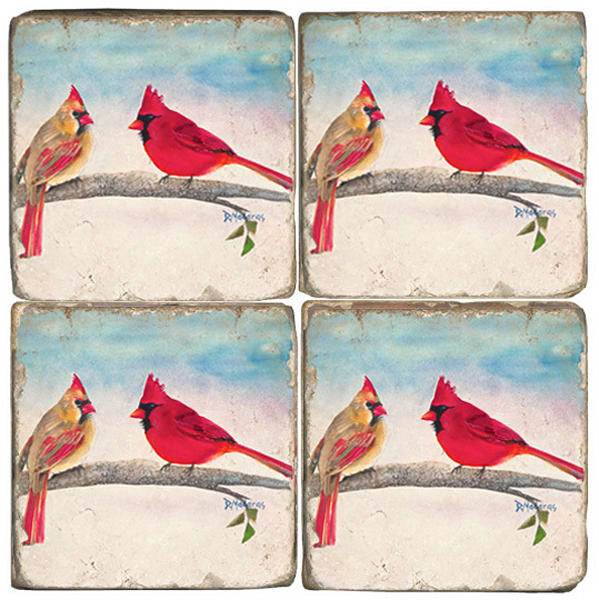 Mr. and Mrs. Cardinal Set of 4 Tumbled Coasters