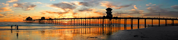 panorama of huntington beach pier at sunset