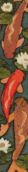 Koi, Lily Pads, Lilies, Goldfish, collage, art prints, originals, paintings