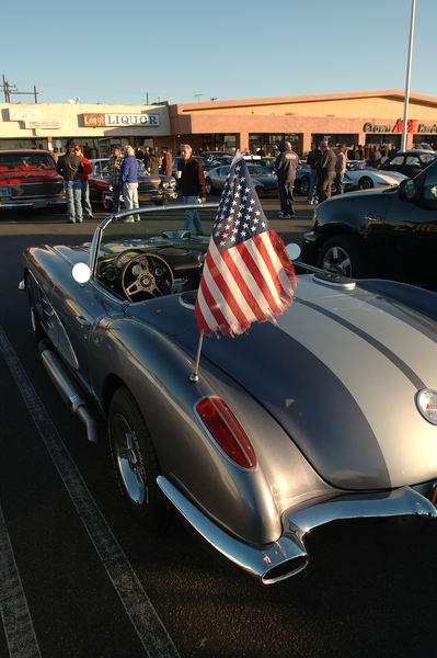 Corvette and American Flag