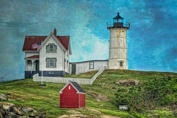 Nubble Light with Textured Sky Fine Art Photograph | JustBob Images